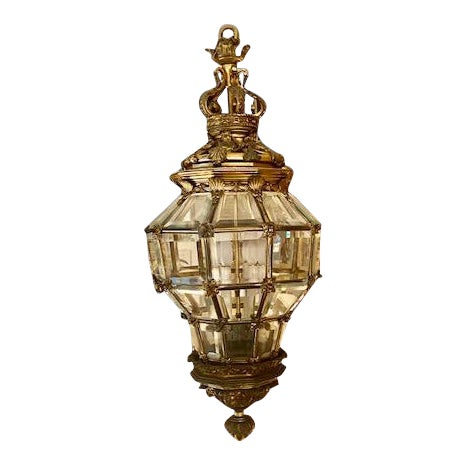 1900s Antique French Bronze 6 Light Lantern With Lion Motif For Sale