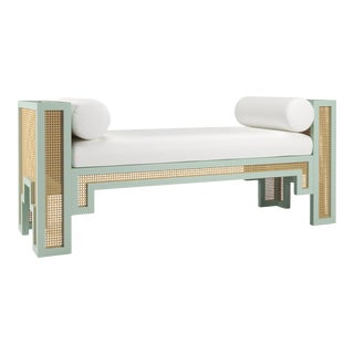 Alexandra Bench - Turquoise Mist, Optic White Linen For Sale