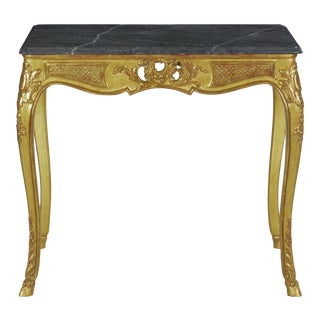 French Louis XV Style Carved Giltwood Center Accent Table W/ Gray Marble Top For Sale
