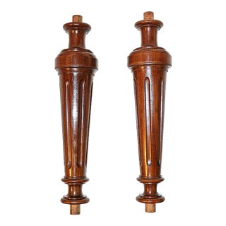 French Walnut Columns - a Pair For Sale