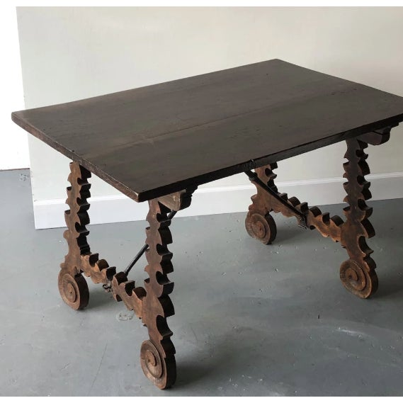 Metal 19th C. Spanish Table W/ Iron Stretcher For Sale - Image 7 of 7