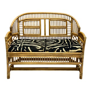 Vintage Bamboo Chinese Chippendale Style Settee in Ralph Lauren For Sale