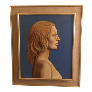 Original Painting by Listed French Surrealist Pierre Didier Mid Century Modern Female Portrait 1957 For Sale