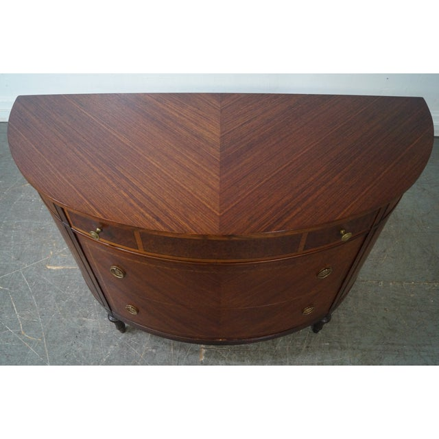 Antique 1920s Demilune Inlaid Walnut Louis XVI Style Chest of Drawers - Image 5 of 10