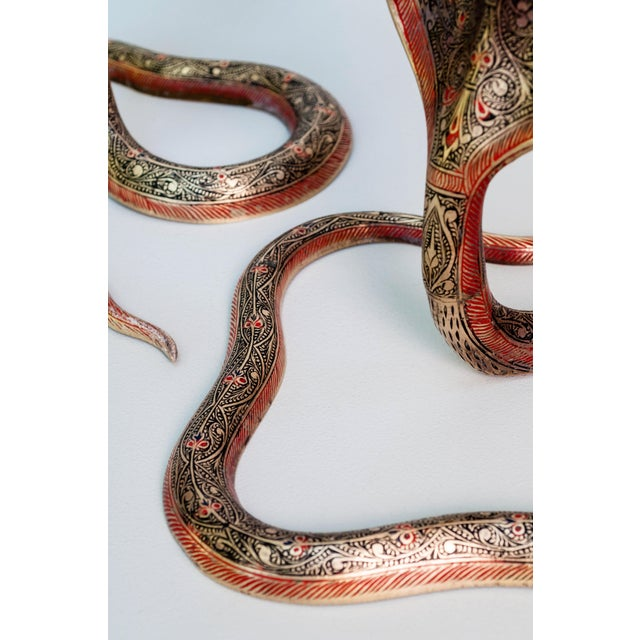 Mid 20th Century Brass Enameled Cobra Candle Holder - a Pair For Sale - Image 5 of 6