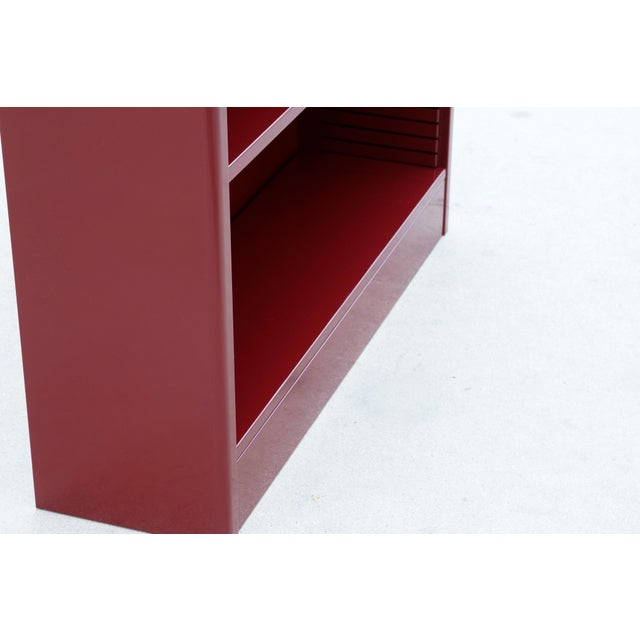 1960s Red Wine Steel Tanker Style Bookcase For Sale - Image 4 of 5