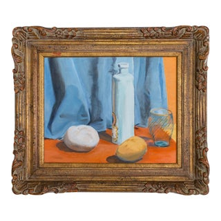 Framed Still Life Pastel Drawing. Original Vintage Art, Color Block Orange, Blue, Yellow.