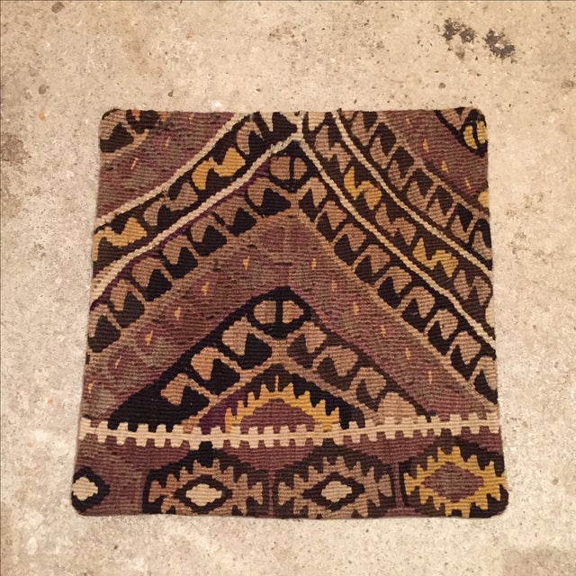 Vintage Brown Kilim Pillow Case - Image 2 of 5