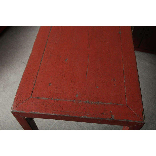 Red Antique Linen Covered Red Lacquered Elmwood Console Table, 19th Century China For Sale - Image 8 of 11