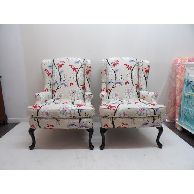 Beige Floral Upholstery Wingback Chairs - a Pair For Sale - Image 8 of 8