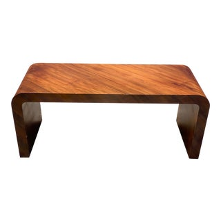 Mid 20th Century Dark Wood Waterfall Coffee Table Stamped Jean Michel Frank For Sale
