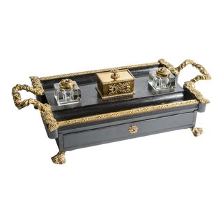 Antique French Gilt Bronze and Ebonized Ink Stand For Sale