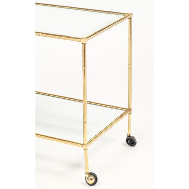 Vintage French Brass Faux Bamboo Bar Cart or Trolley by Maison Baguès For Sale In Austin - Image 6 of 9