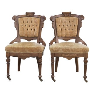 Late 19th Century Victorian Eastlake Carved Wood Original Velvet Chairs - a Pair For Sale
