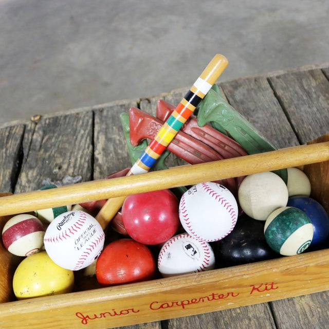 Ceramic Object D 'Art Centerpiece Junior Carpenter Kit Tool Box With Balls and Horseshoes For Sale - Image 7 of 13
