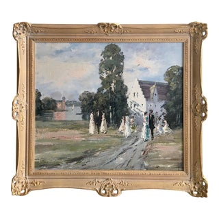 Impressionist Lakeside Country Scene Oil Painting For Sale