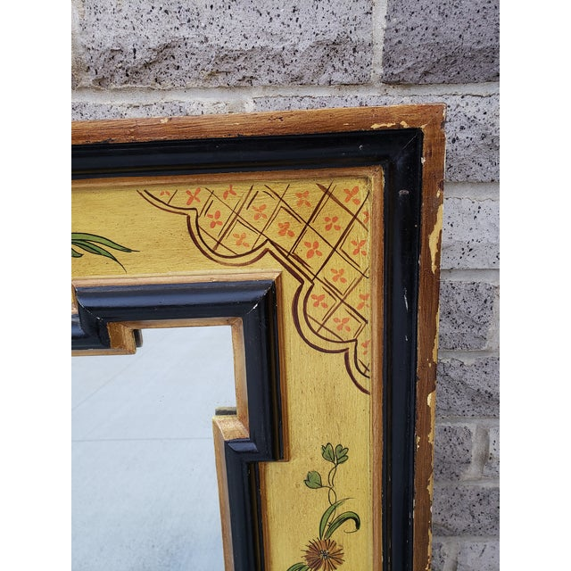 1940s Vintage Italian Hand Painted Mirror For Sale - Image 5 of 13