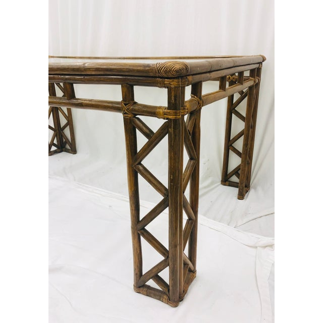 Vintage Chinese Chippendale Rattan & Glass Top Table For Sale - Image 9 of 10