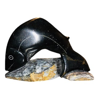 Inuit Soapstone Fish Carving For Sale