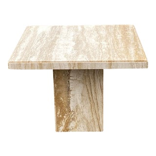 1980s Vintage Italian Marble Travertine Square Dining Table For Sale