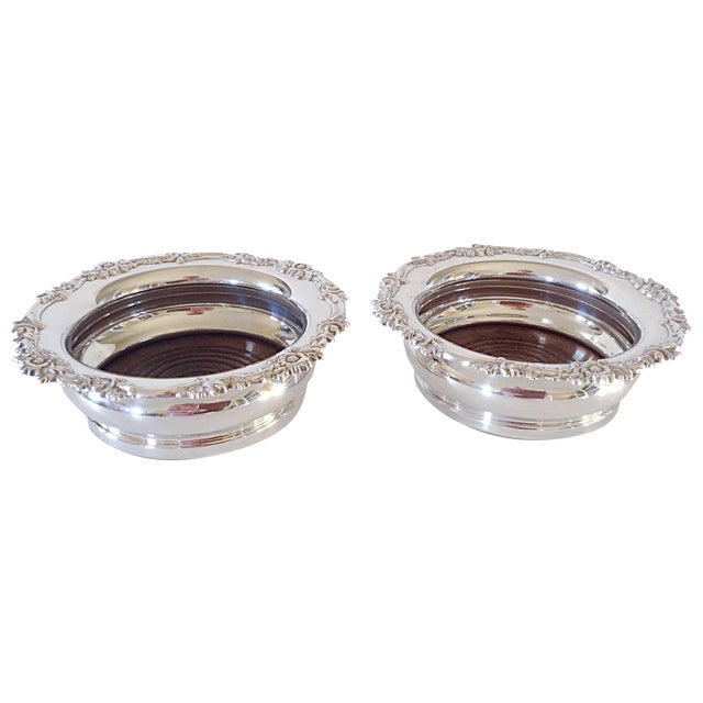 English Silver Wine Coasters - Pair - Image 1 of 5