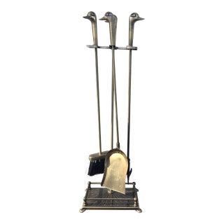 Mid-Century Modern Brass Duck Fireplace Tools