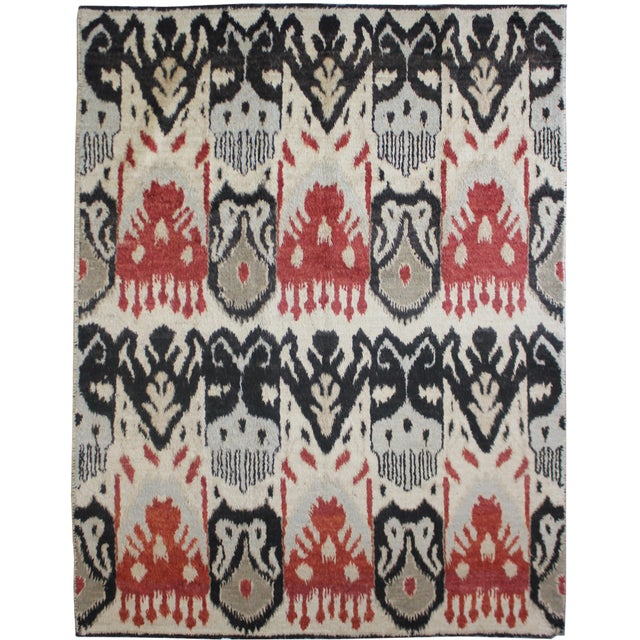 """Hand Knotted Ikat Rug - 12'5"""" X 9'2"""" For Sale - Image 5 of 5"""
