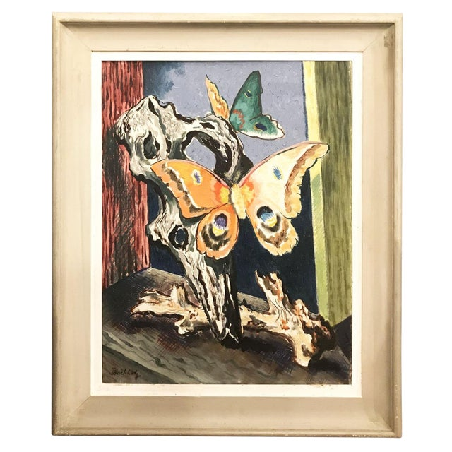 Vintage Mid-Century Buccholz Gothic Butterflies Painting For Sale