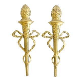 Brass Ribbon Torch Wall Plaques Vintage For Sale
