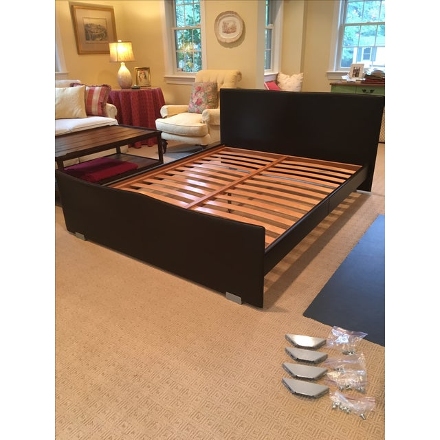 Brown Leather Platform Queen Bed - Image 2 of 9