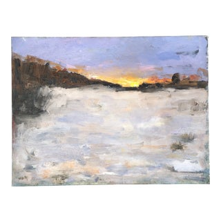 Contemporary Original Impressionist Abstract Landscape at Sunset Painting Signed Desmond McRory For Sale