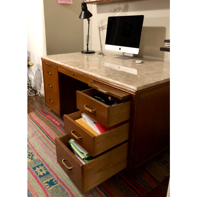 Lehigh Leopold Leopold Mid-Century Executive Desk For Sale - Image 4 of 9