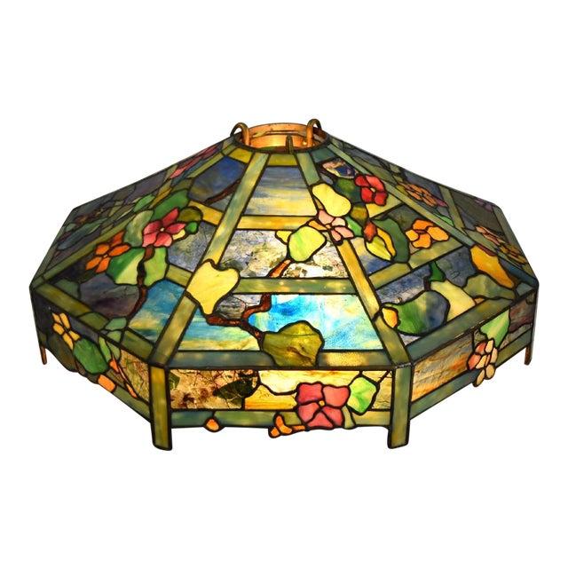"Tiffany ""Flowering Trellis"" Glass & Bronze Pendant - Image 1 of 8"