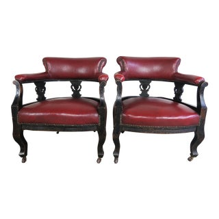 19th Century Victorian Red Vinyl Chairs - A Pair