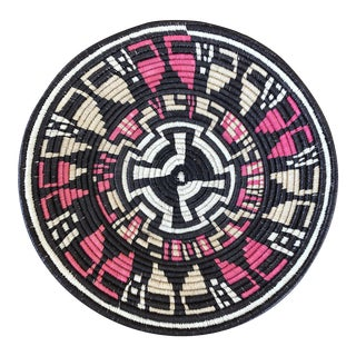 20th Century Tribal Brown and Pink Woven Basket For Sale