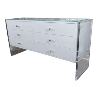 White Python Dresser with Lucite Side Panels For Sale