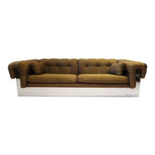 Milo Baughman Style Thayer Coggin Sofa With Polished Chrome Base, 1970s For Sale