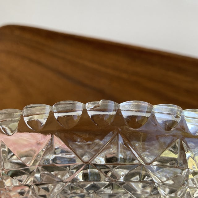 Transparent Vintage Textured Glass Catchall Dish For Sale - Image 8 of 11