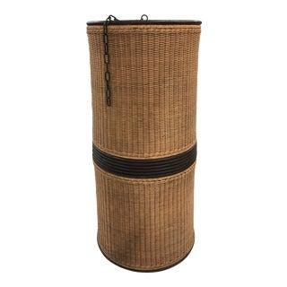 Vintage Basket Woven Cane Cylinder Wicker Chandelier For Sale