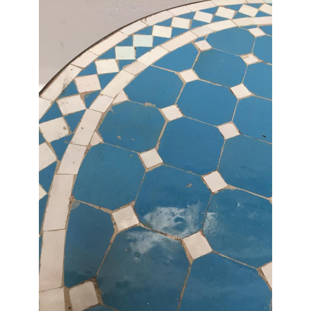Mid 20th Century Moroccan Mosaic Outdoor Blue Tile Side Table on Low Iron Base For Sale - Image 5 of 13