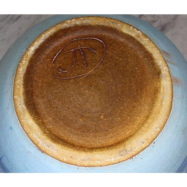 1960s Mid-Century Modern Large Blue Glazed Ceramic Pot Signed j.t. Abernathy For Sale - Image 4 of 8