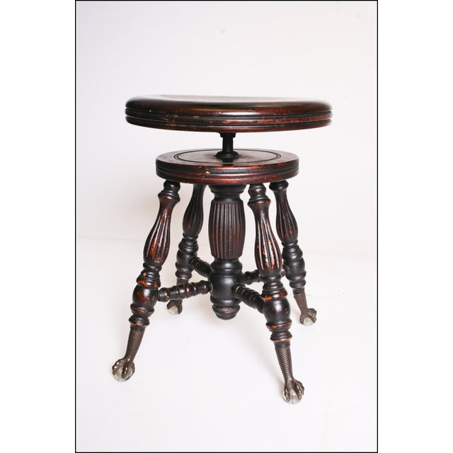 Victorian Wood Swivel Piano Stool with Ball & Claw Feet For Sale - Image 6 of 11