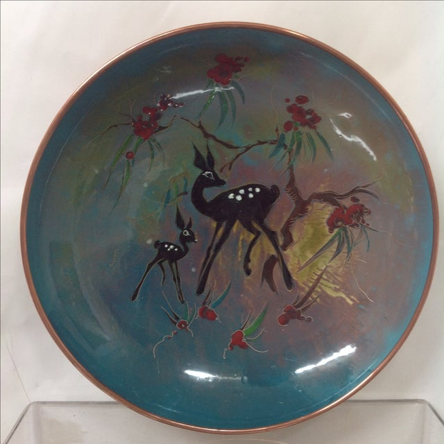 Mid Century enameled copper charger with a deer and fawn. Signed. Hand painted made in Holland.