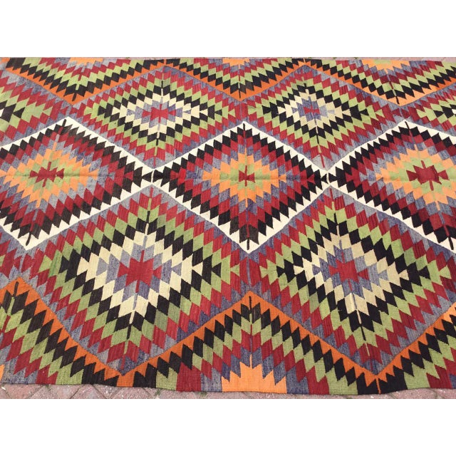 Boho Chic Vintage Turkish Kilim Rug For Sale - Image 3 of 10