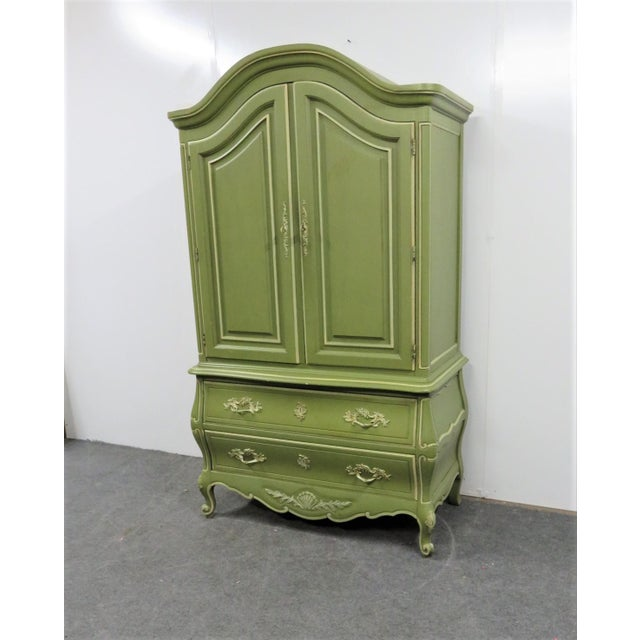 Paint Louis XV Style Green & Cream Armoire For Sale - Image 7 of 7