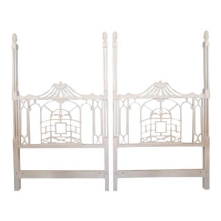 Vintage Chippendale Hollywood Regency Pagoda Twin Headboards - a Pair