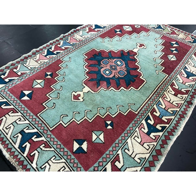 Antique Turkish Anatolian Aztec Decorative Hand Rug - 4′4″ × 6′7″ For Sale - Image 9 of 11