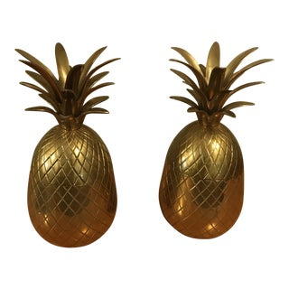 1970s Hollywood Regenc Solid Brass Pineapple Lidded Trinket Boxes - a Pair For Sale