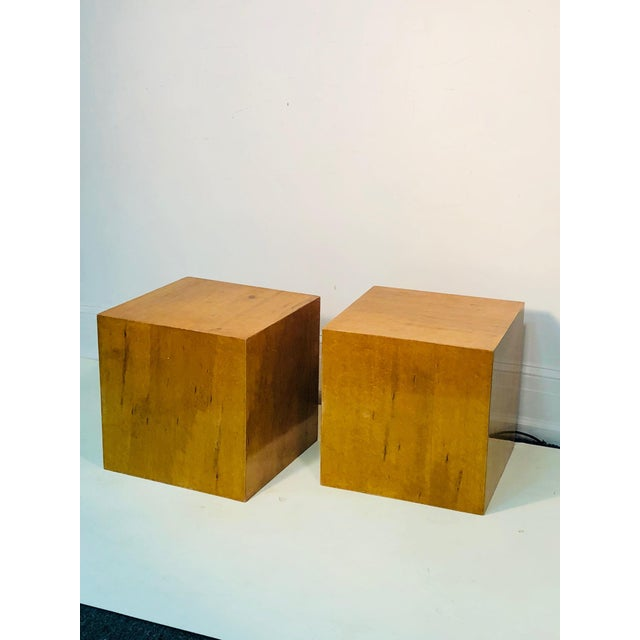 Late 20th Century Burl Wood Cubes or Side Tables- A Pair For Sale In Philadelphia - Image 6 of 6