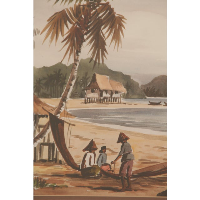 """Charming pair of tropical scenes. The painting with blue tones is signed and dated """"Cheng '78,"""" lower left, and the other..."""